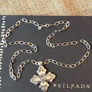 Silpada Ornate Cross Pendant Long Link Necklace